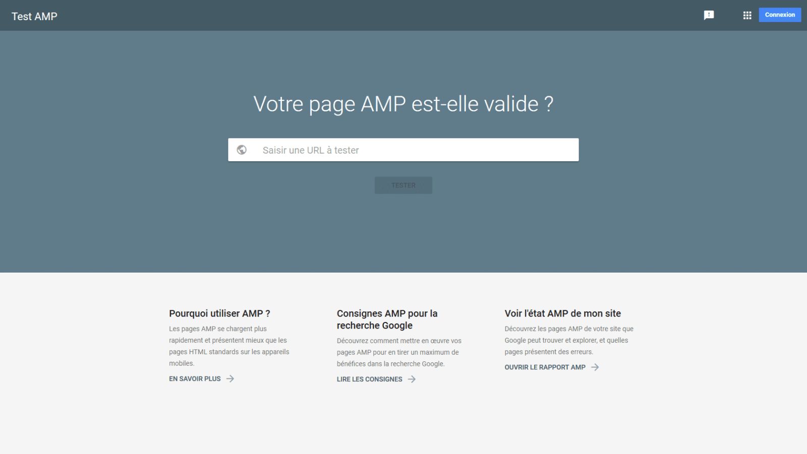 Accueil Test AMP - Google Search Console