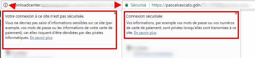 Chrome : http versus https